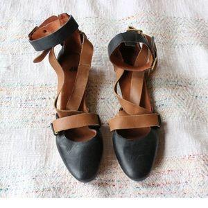 H&M Camel Strappy Platform Wooden Sandals